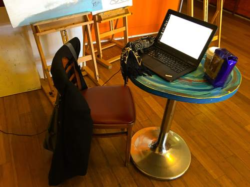 An Artist's Desk at Mama Art Cafe, Excelsior District in San Francisco (2016)