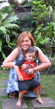 Lorna Dietz with her nephew, Matthew, on December 25, 2004