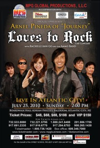 July 25, 2010 - Arnel Pineda and Rachelle Ann Go in Atlantic City