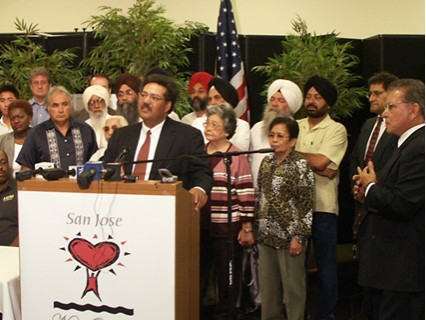 Mohinder Mann speaks during the Katrina Disaster Fundraising Event's press conference, Northside Community Center, Sept. 2005